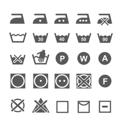 Set of washing symbols laundry icons isolated on vector