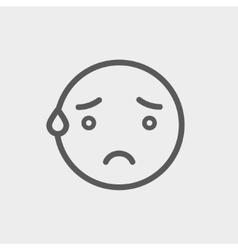 Exhausted smiley thin line icon vector