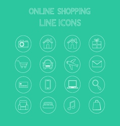 Online shopping line icons vector