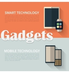 Flat design banners tablet pc smart watch and vector