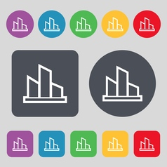Diagram icon sign a set of 12 colored buttons flat vector