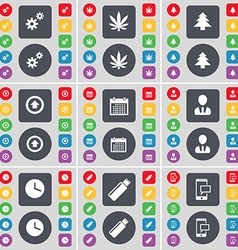 Gear marijuana firtree arrow up calendar avatar vector
