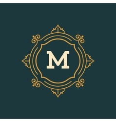 Flourishes calligraphic monogram emblem template vector