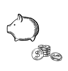 Piggy bank and coins stack sketch vector