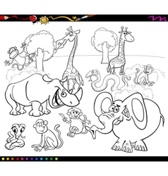 Safari animals coloring book vector