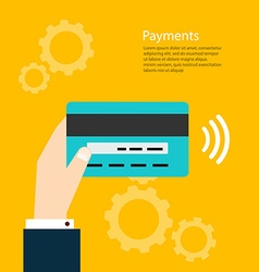 Payments man holding card payments from vector