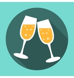 Glasses of champagne icon vector