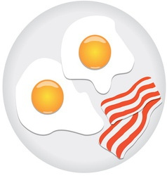 fried eggs and bacon on plate vector image