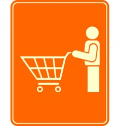 Shopping trolley pictogram vector