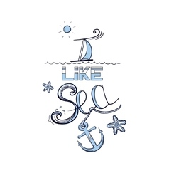 Blue lettering i like sea vector