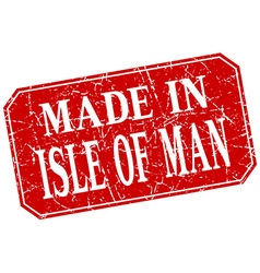 Made in isle of man red square grunge stamp vector