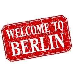 Welcome to berlin red square grunge stamp vector