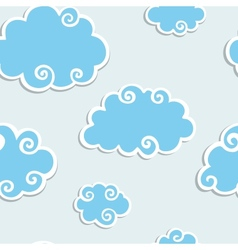 Blue clouds with white border seamless pattern vector