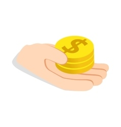 Hand holding coins icon isometric 3d style vector