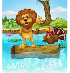 A lion and a turkey above a floating wood vector image vector image