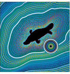aboriginal art background platypus vector image