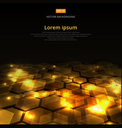 abstract golden shine hexagon geometric ground vector image