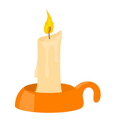 burning candle in candlestick icon cartoon style vector image