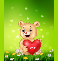 Cartoon bear holding red heart balloons on green g vector