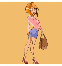 Cartoon slender woman walks and looks back vector
