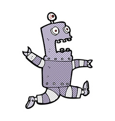 Comic cartoon terrified robot vector
