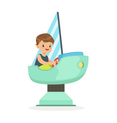 Cute little boy playing on a toy ship kid have a vector