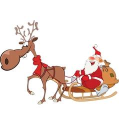 Cute Santa Claus and Reindeer vector image