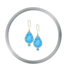 Earrings with gems icon in cartoon style isolated vector image