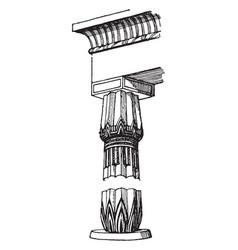 egyptian column elements vintage engraving vector image