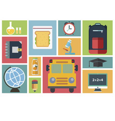 group of school and learning icons vector image vector image