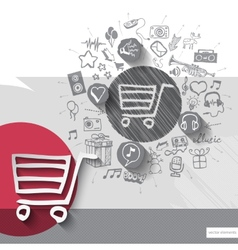 Hand drawn shopping cart icons with icons vector image vector image
