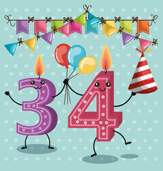 Happy birthday candles cute numbers vector