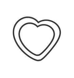 Heart leave organic emblem outline vector
