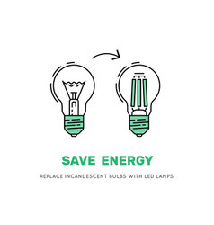 led energy saving lamp vector image