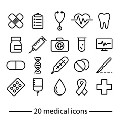 medical line icons vector image vector image