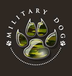 Military dog paw print vector