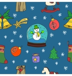 New Year and Merry Christmas seamless pattern vector image