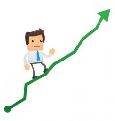Office worker climbs up chart vector