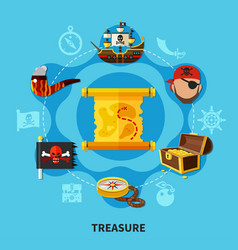 pirate treasure round composition vector image