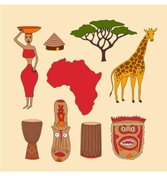 set of african symbols vector image