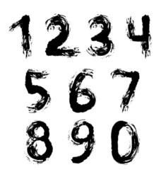 Set of grunge numbers vector image