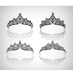 Set of hand drawn lace beautiful decorated vector
