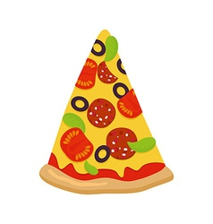 Piece of pizza on white background Tomatoes and vector image