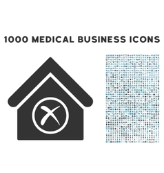 Erase building icon with 1000 medical business vector