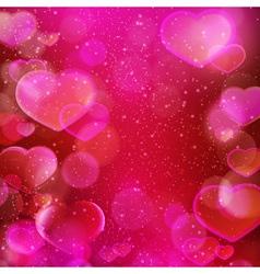 Dark red purple hearts bokeh background vector image