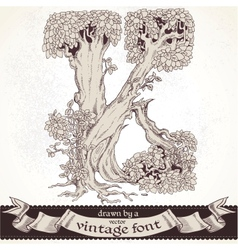 Fable forest hand drawn by a vintage font - k vector