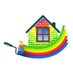 Paint roller home design vector