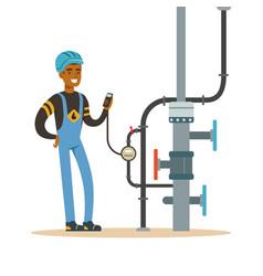 Black oilman worker on an oil pipeline controlling vector