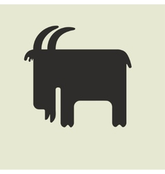 Silhouette of goat with horns standing sideways vector