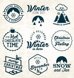 Winter and badges set vector